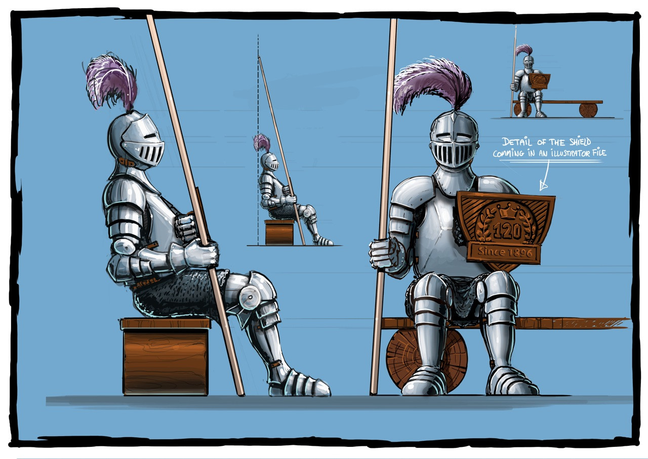 Fibreglass knight and bench