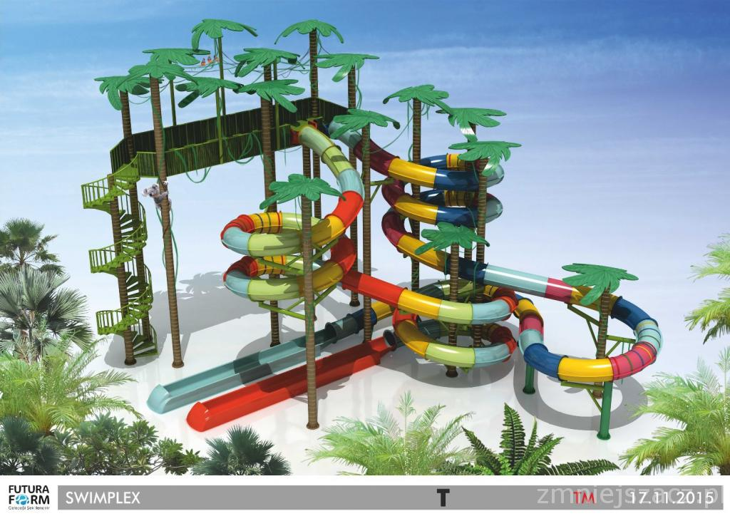 Theaming of towers and water slides